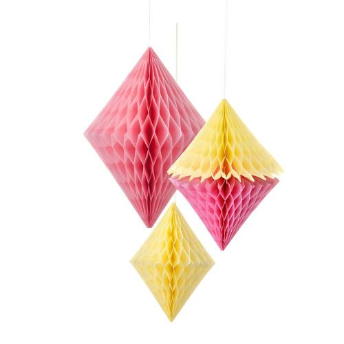 Paper Honeycomb Diamond 3pk - Pink